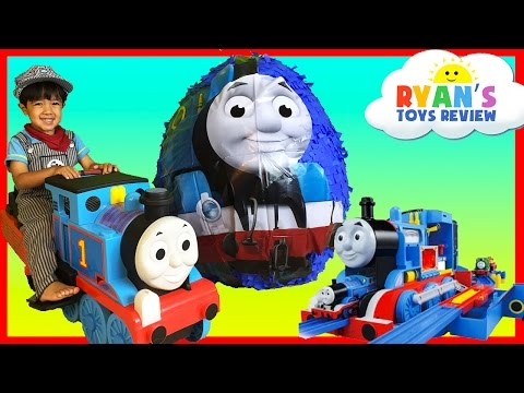 GIANT EGG SURPRISE OPENING Thomas and Friends Toy Trains Disney Cars Toys Kids Video Ryan ToysReview