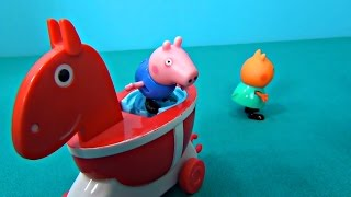 Peppa Pig in English. Peppa Pig and her friends ride a horse. George and a new horse
