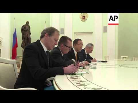 Russian President Putin meets UN secretary-general Ban Ki-moon