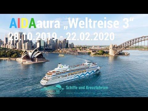 AIDAaura Weltreise 3 in 2019: 117 Tage, 41 Länder, 4 Kontinente / 28.10.19 - 22.02.2020 ab Hamburg