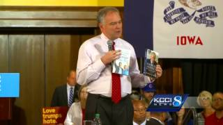 Kaine attacks Trump, skips terror talk in Iowa speech