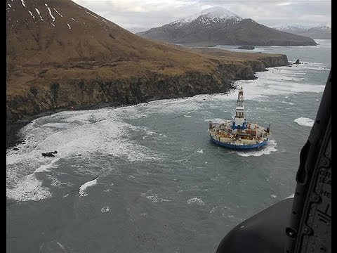 Oil rig runs aground in Gulf of Alaska