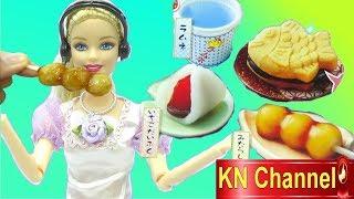 KN Channel Đồ chơi nhật bản Popin Cookin BÁNH CON CÁ với bé Na và búp bê barbie