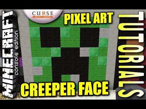 MINECRAFT - PS4 - CREEPER FACE PIXEL ART - HOW TO - TUTORIAL ( PS3 / XBOX / PC )  UPDATE