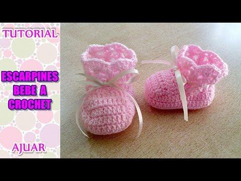 Crochet Tutorial Zapatitos Escarpines : Escarpines, Patucos, Zapatitos Para Bebe De 3 A 6 Meses Tejido Con Dos ...