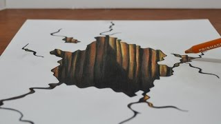 Drawing a 3D Hole - Trick Art on Paper