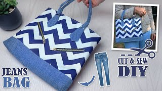 DIY SUPERB HANDBAG DESIGN TWO ZIPPER POCKETS // Cut & Sew Method Easy To Diy From Old Jeans