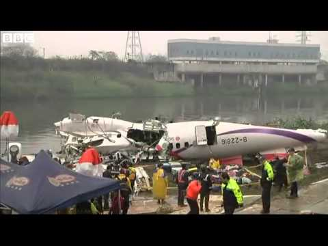 BBC News   Taiwan plane crash  Teams search for 12 missing people