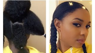 HOW TO: TWO JUMBO BRAIDS ON 4 TYPE HAIR (RUBBER BAND METHOD)