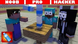 NOOB vs PRO vs HACKER bottle flip challenge - Minecraft Animation