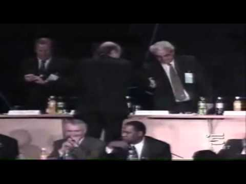 Sepp Blatter Falls Off a Stage