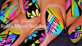 DIY Rainbow Geometric Nails | Bright Nail Art Design Tutorial