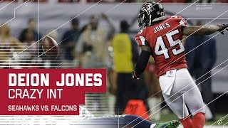 Crazy Deflection Interception for Deion Jones!   Seahawks vs. Falcons   NFL Divisional Highlights