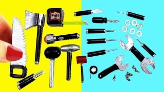 How to Make Miniature Tools & Tool Box - 10 Easy DIY Miniature Doll Crafts