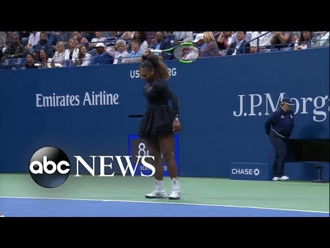 Watching video Shocking US Open final as Serena Williams loses, breaks her racket