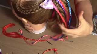 Trenzas de colores con cordon para decorar las coletas. Braid with cord to decorate ponytails