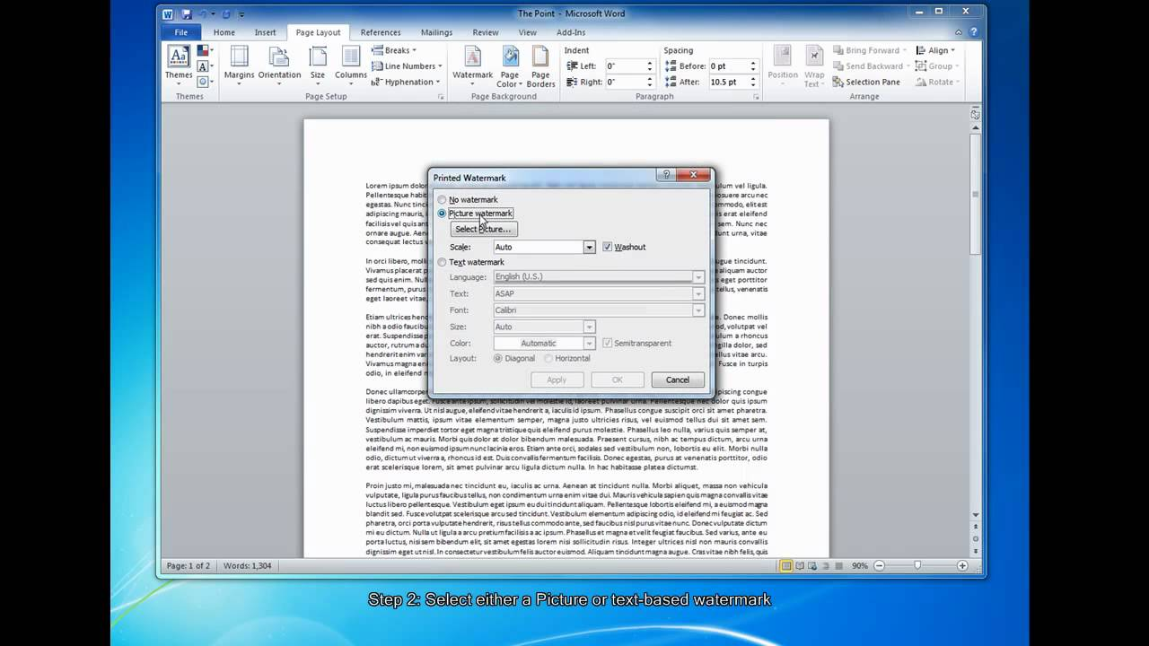 how to add a watermark to a microsoft word 2010 document