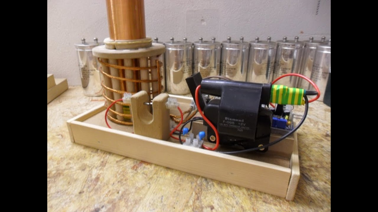 Nikola Tesla Coil Update 3 First Try Out Ignition Coil 555 Timer Amp Spark Gap Youtube