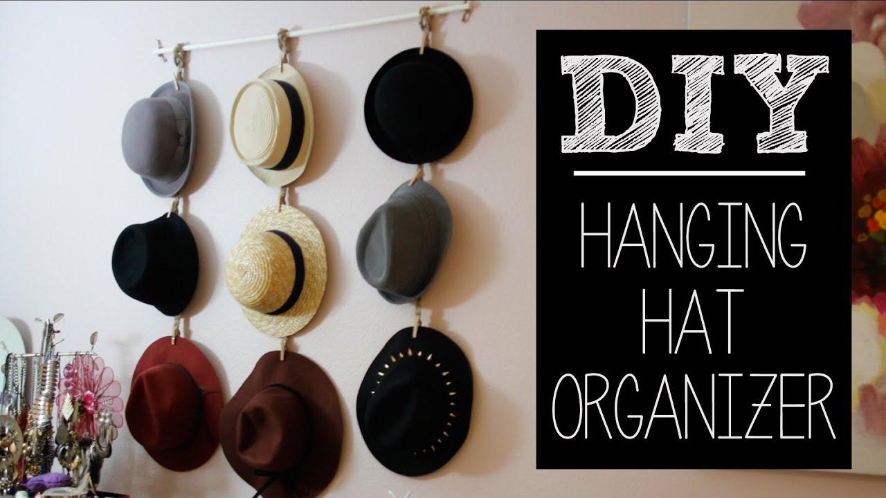 Diy hat hanger organizer easy beautybitten youtube - Creative hat storage ideas ...