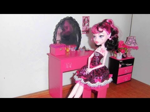 How to make a Bedroom Vanity for doll (Monster High. Barbie. etc)