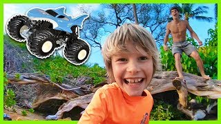 Family Fun Spins and Backflips At the Beach with Axel and Daddy + Monster Trucks