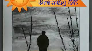 Scenery of sunset with Willow charcoal and colour pencil#Sk Art@shijil k