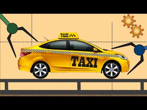 Машинки Мультфильм. Такси. Сборка машины такси. Развивающие мультики