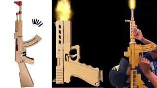 How To Make Cardboard AK47 , Glock19 and M4 Toy gun   How to make cardboard gun - YouTube  