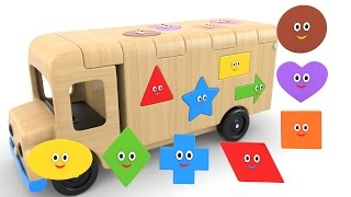 Learn Shapes with Wooden Truck Toy - Colors and Shapes Videos Collection for Children