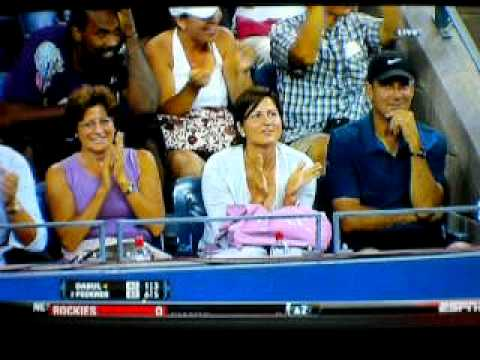 Roger Federer shot between legs US Open 2010( Federer vs Dabul) Video
