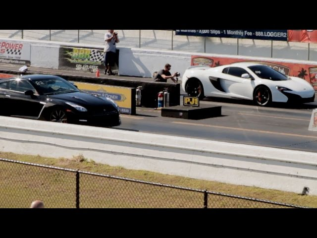 McLaren 650S vs Nissan GT-R Drag Racing 1/4 Mile