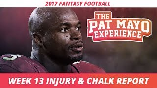 2017 Fantasy Football - Week 13 NFL Injury Report & DraftKings Milly Maker Chalk Picks and Pivots