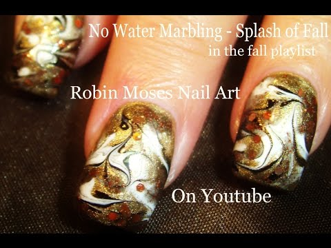 NAIL ART   DIY No Water Marble nail design tutorial - FALL FAIL!