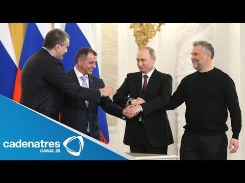 Vladimir Putin firma tratado para incorporar Crimea a Rusia