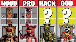 Minecraft Battle: NOOB vs PRO vs HACKER vs GOD : FNAF ANIMATRONICS CRAFTING Challenge in Minecraft