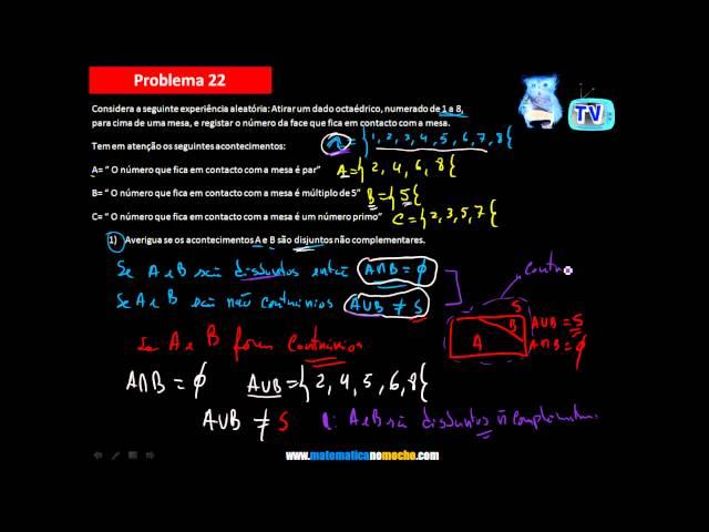 Acontecimentos disjuntos e complementares Probabilidades 9º Ano