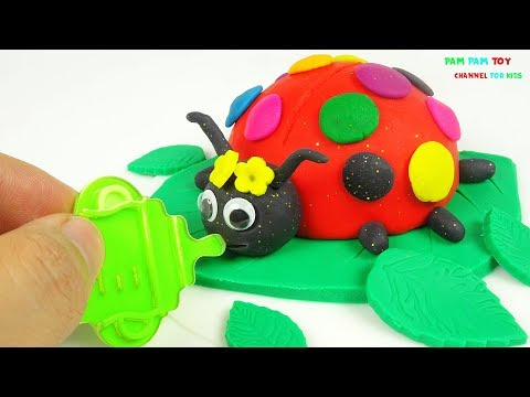 DIY How to Make Play Doh Cake Rainbow Ladybug - Crafts for Kids Learn Colors