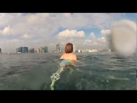 2012-02 Trip - Singapore Swimming on 57th floor of Marina Bay Sands Hotel