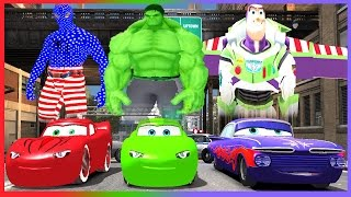 Spiderman, Hulk, Buzz Lightyear Disney Cars Colors Red and Green Lightning McQueen + Ramone