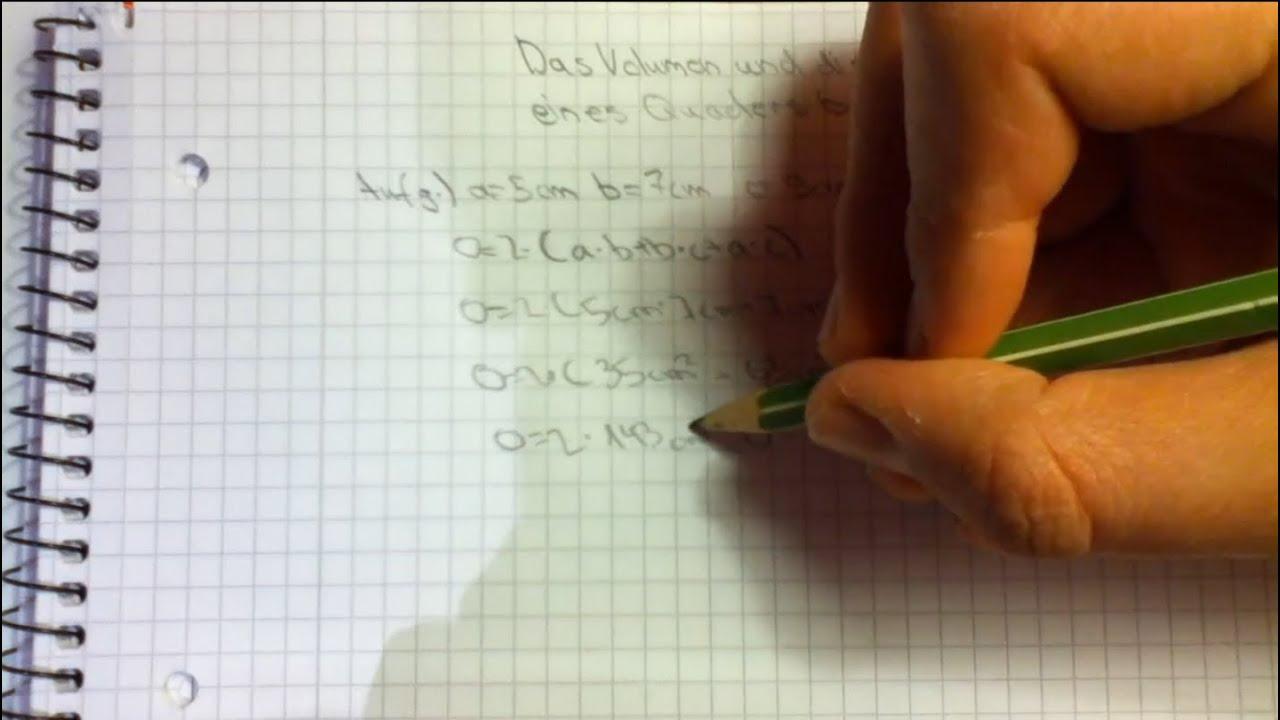 Oberfläche Berechnen Volumen Und Oberfläche Eines Quaders Berechnen  Mathematik Aufgaben