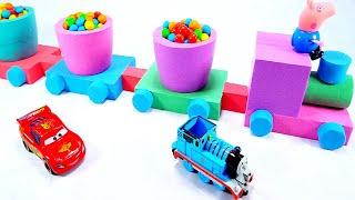 Learn Colors Kinetic Sand DIY How to Make Thomas and Friends Toy Trains Fun For Kids