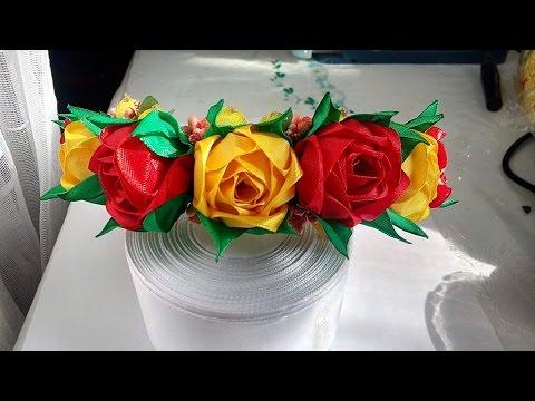 Цветы из лент 2.5 см мастер класс для начинающих см