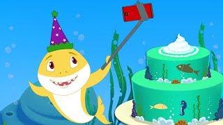 Baby Shark Happy Birthday Song + Sharks doo doo doo doo songs & poems collection by Fun For kids TV