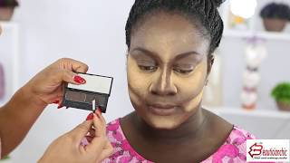 MAKEUP   AND GELE TRANSFORMATION ON DARK SKIN   -TRYING OUT NEW MAKEUP BRAND|NIGERIAN WEDDING| UK