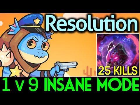 Resolution Dota 2 [Slark] Insane Mode 1v9 | Monster 25 Kills