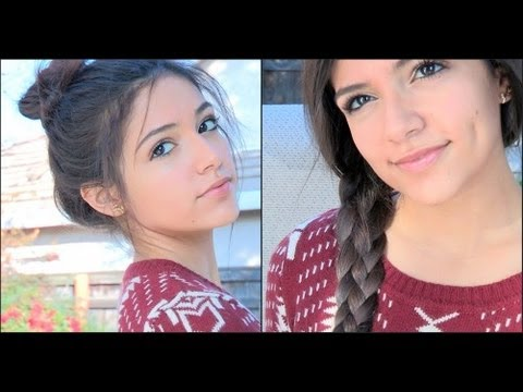 Two Fun braided hairstyles! - Fishtail Topknot & The 4 strand