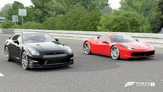 Forza 7 Drag race: Ferrari 458 Italia vs Nissan GTR Black Edition (2012)