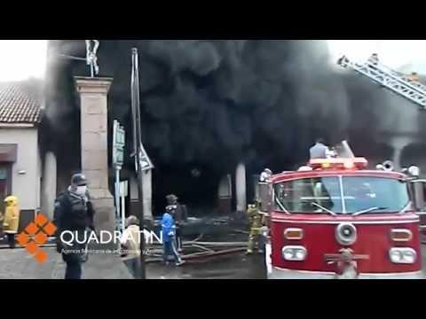 Controlan incendio en Centro de Uruapan