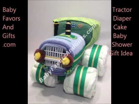 Tractor Diaper Cake, unique baby shower gift ideas, gifts for baby