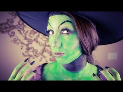Wicked Witch Halloween Makeup and Nails Tutorial